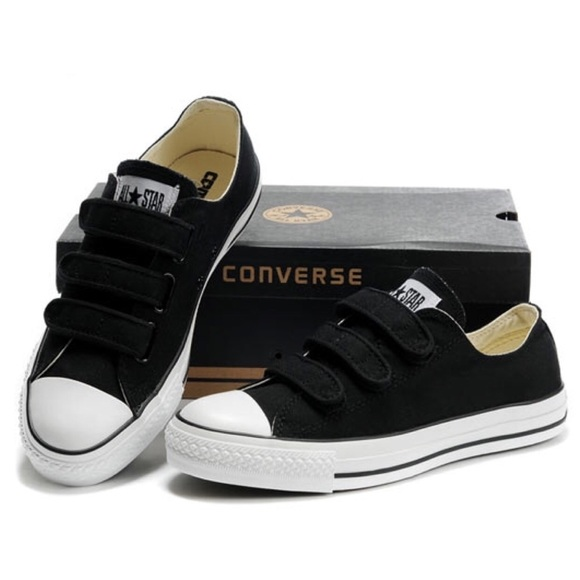 kids black velcro converse